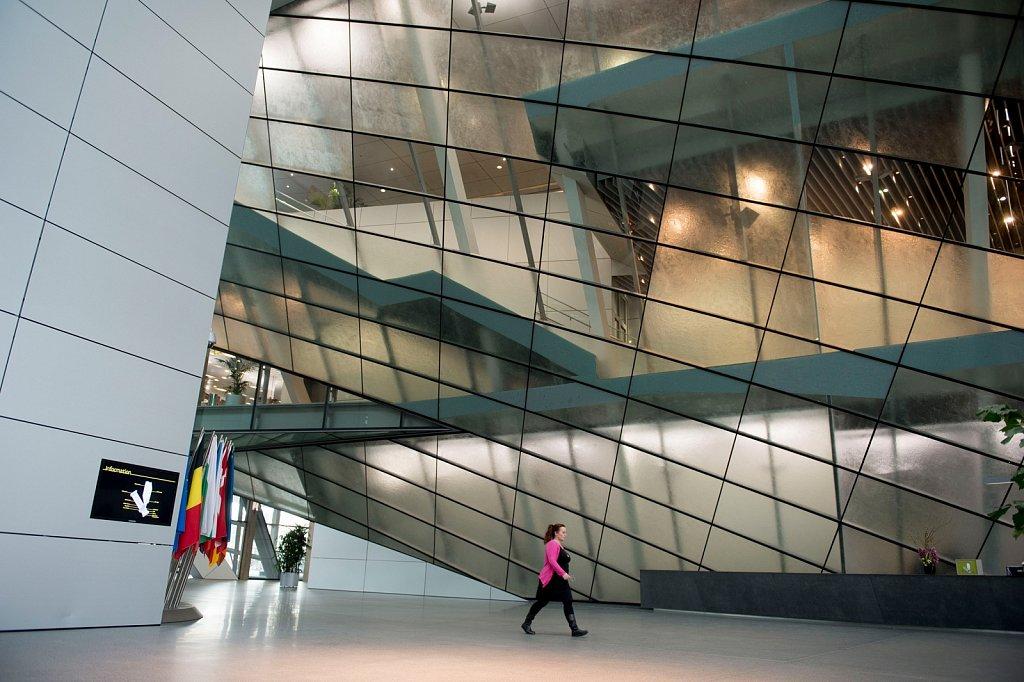 Foyer der Europäischen Zentralbank im Frankfurter Ostend.