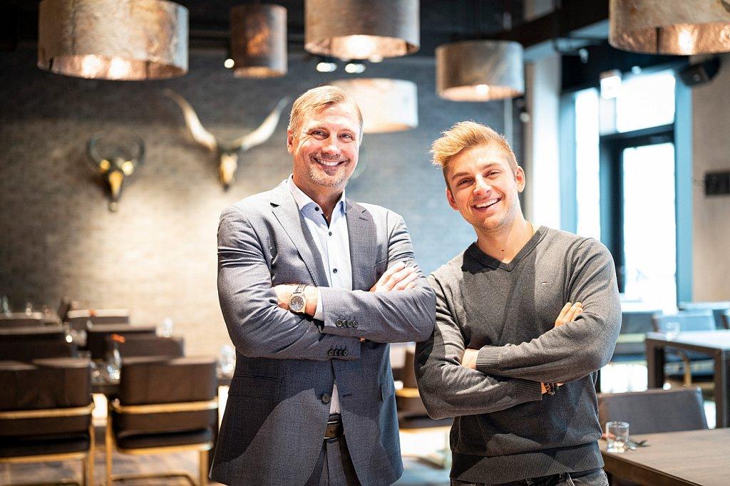 Gastronom Kent Hahne mit Sohn Tyler.